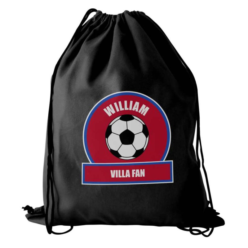 Personalised Claret and Blue Football Fan P.E Kit Bag