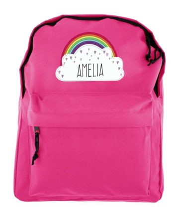 Personalised Rainbow Hot Pink Backpack