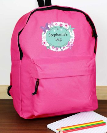 Personalised Butterfly Hot Pink Backpack