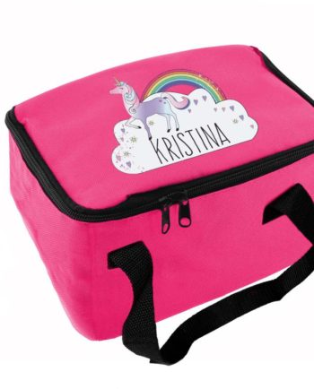 Personalised Unicorn and Rainbow Hot Pink Lunch Bag