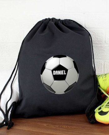 Personalised Football Black P.E Kit Bag