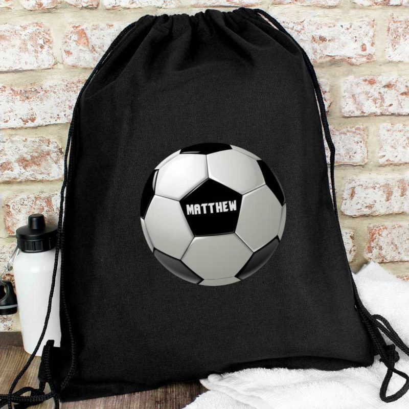 Personalised Football Black P.E Kit Bag