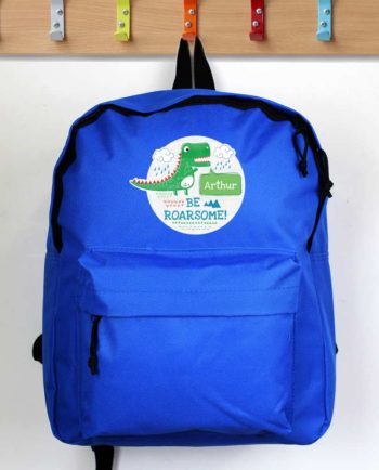 Personalised 'Be Roarsome' Dinosaur Blue Backpack