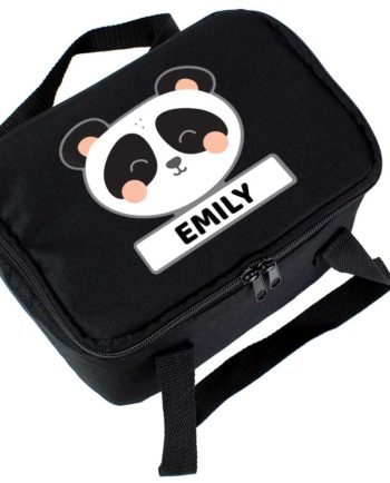 Personalised Cute Panda Black Lunch Bag
