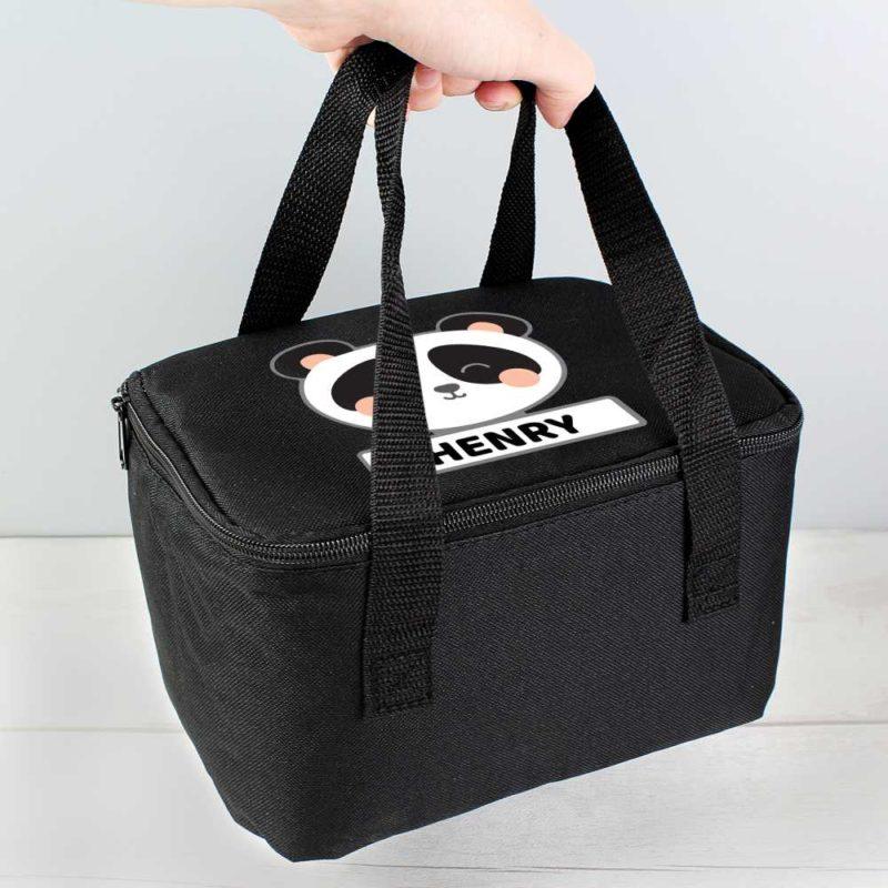 Personalised Cute Panda Black Lunch Bag