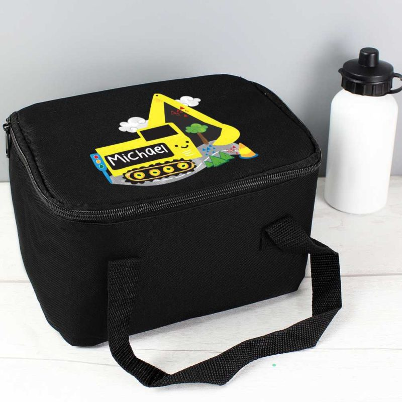 Personalised 'Yellow Digger' Black Lunch Bag