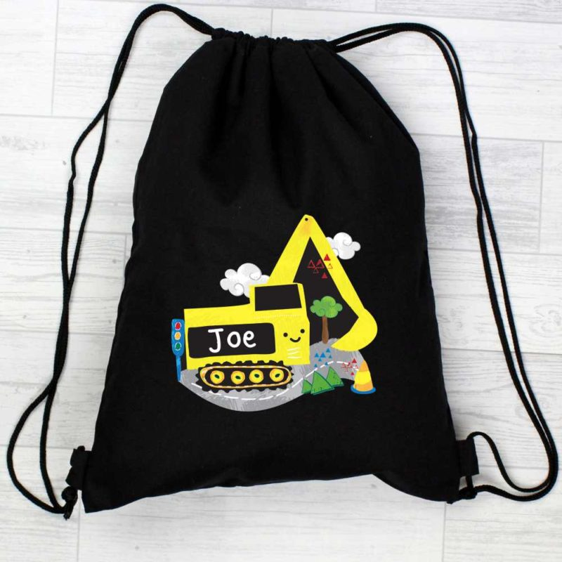 Personalised 'Yellow Digger' Black P.E Kit Bag