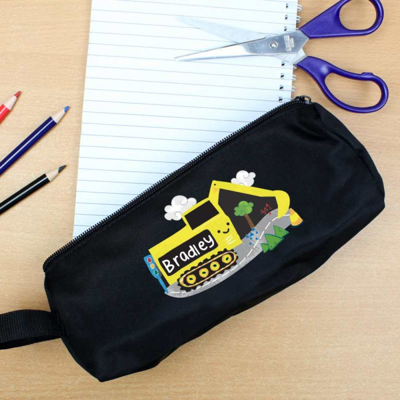 Personalised 'Yellow Digger' Black Pencil Case