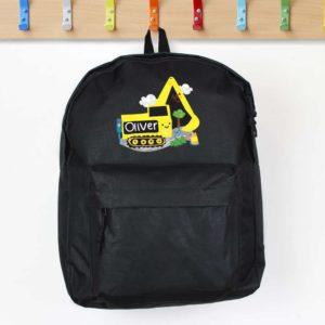 Personalised 'Yellow Digger' Black Backpack