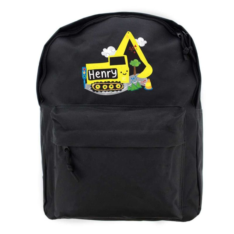 Personalised 'Yellow Digger' Black Backpack
