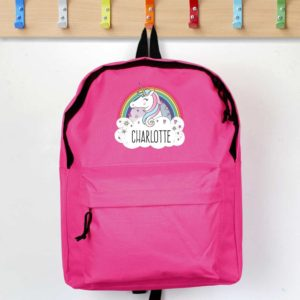 Personalised Unicorn and Rainbow Hot Pink Backpack