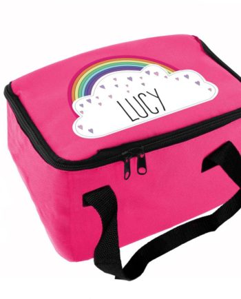 Personalised Rainbow Hot Pink Lunch Bag