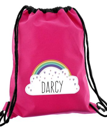 Personalised Rainbow Hot Pink P.E Kit Bag