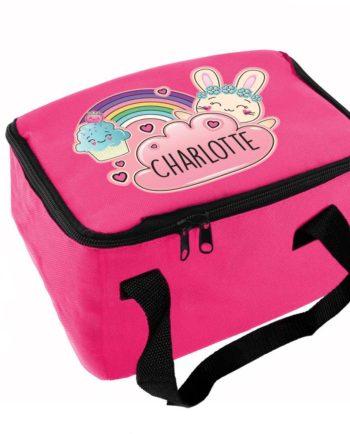 Personalised Emoji Bunny Hot Pink Lunch Bag