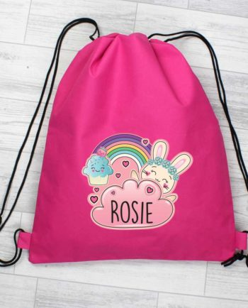 Personalised Emoji Bunny Hot Pink P.E Kit Bag