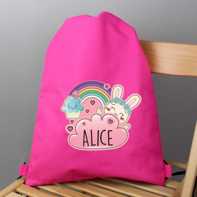 Personalised Emoji Bunny Hot Pink P.E Kit Bag