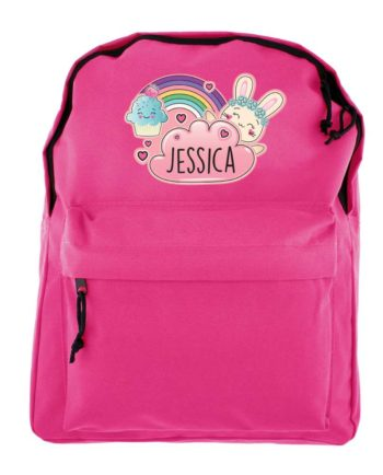 Personalised Emoji Bunny Hot Pink Backpack