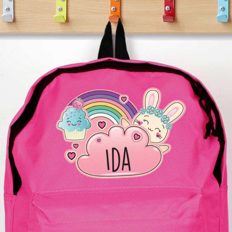 Personalised Emoji Bunny Hot Pink Backpack