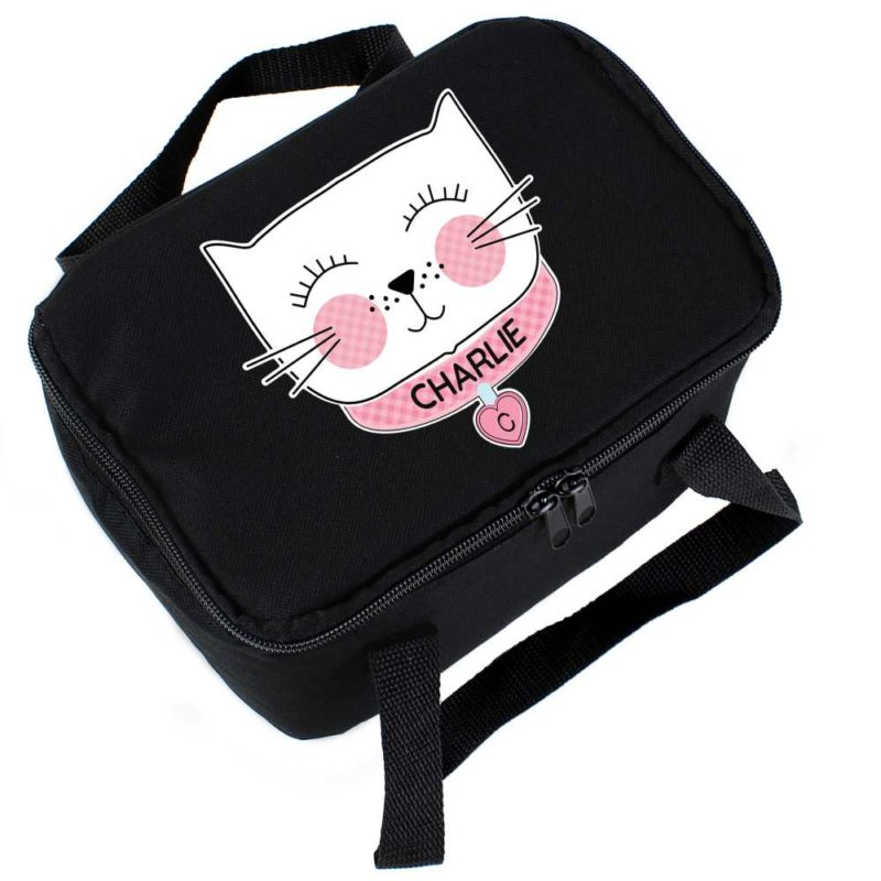 Personalised 'Purrfect' Cat Black Lunch Bag