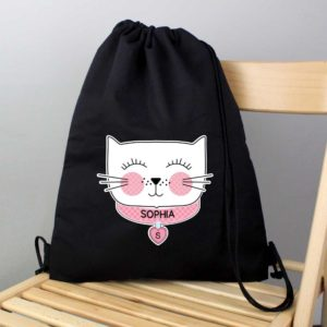 Personalised 'Purrfect Cat' Black P.E Kit Bag