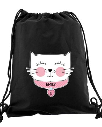 Personalised 'Purrfect Cat' Black P.E Kit Bag