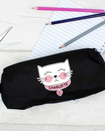 Personalised 'Purrfect Cat' Black Pencil Case