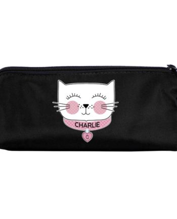 Personalised 'Purrfect Cat' Black Pencil Case