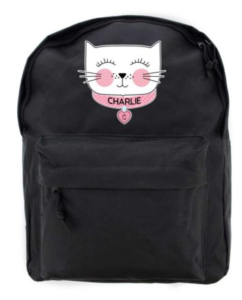 Personalised 'Purrfect Cat' Black Backpack