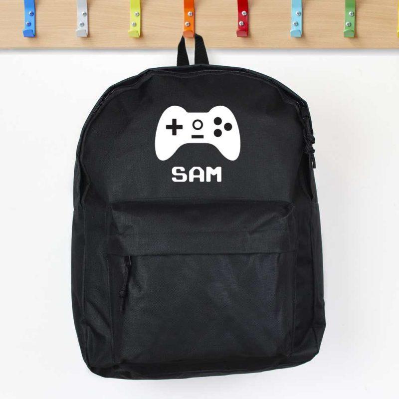 Personalised Gaming Controller Black Backpack