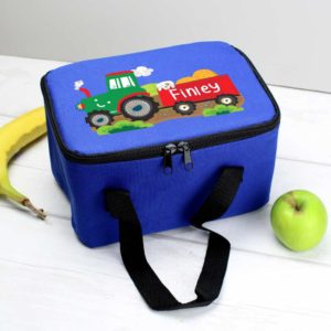 Personalised Tractor and Trailer Blue Lunch Bag