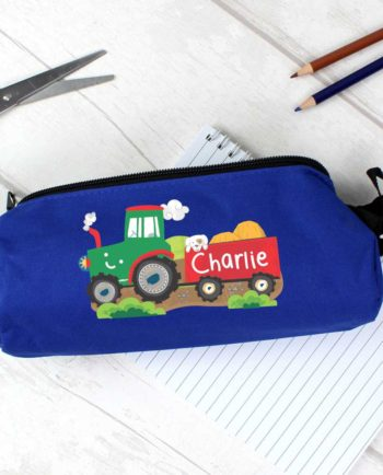 Personalised Tractor and Trailer Blue Pencil Case