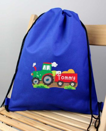 Personalised Tractor and Trailer Blue PE Kit Bag