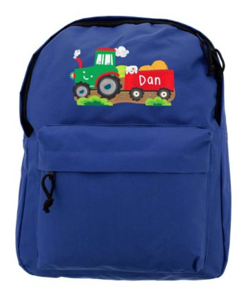 Personalised Tractor and Trailer Blue Backpack