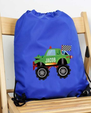 Personalised Monster Truck Blue P.E Kit Bag