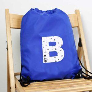 Personalised Initial Blue P.E Kit Bag