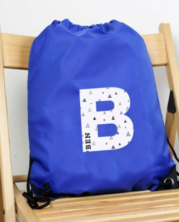 Personalised Initial Blue P.E Kit Bag