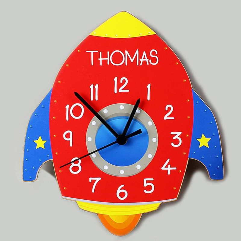 Personalised Rocket Shape Wooden Clock