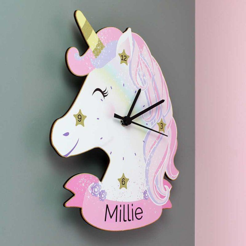 Personalised Unicorn Shape Wooden Clock