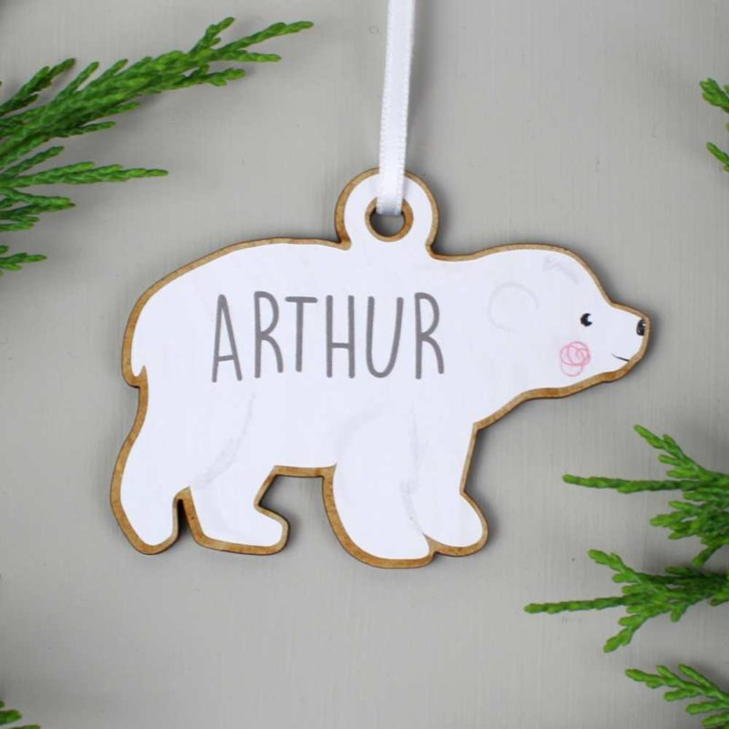 Personalised Polar Bear Family Wooden Hanging Decorations