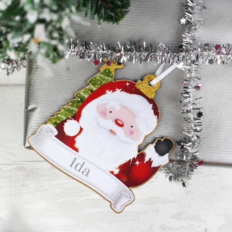 Personalised Christmas Character Wooden Hanging Decorations