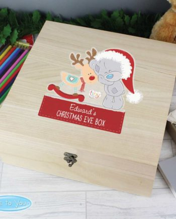 Personalised 'Tiny Tatty Teddy and Reindeer' Wooden Christmas Eve Box