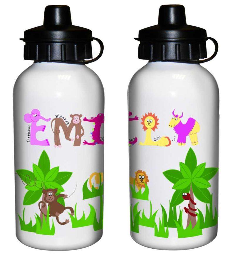 Personalised Jungle Animal Alphabet Drinks Bottle