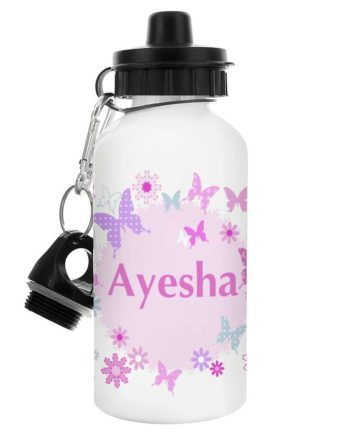 Personalised Butterflies and Flowers Drinks Bottle