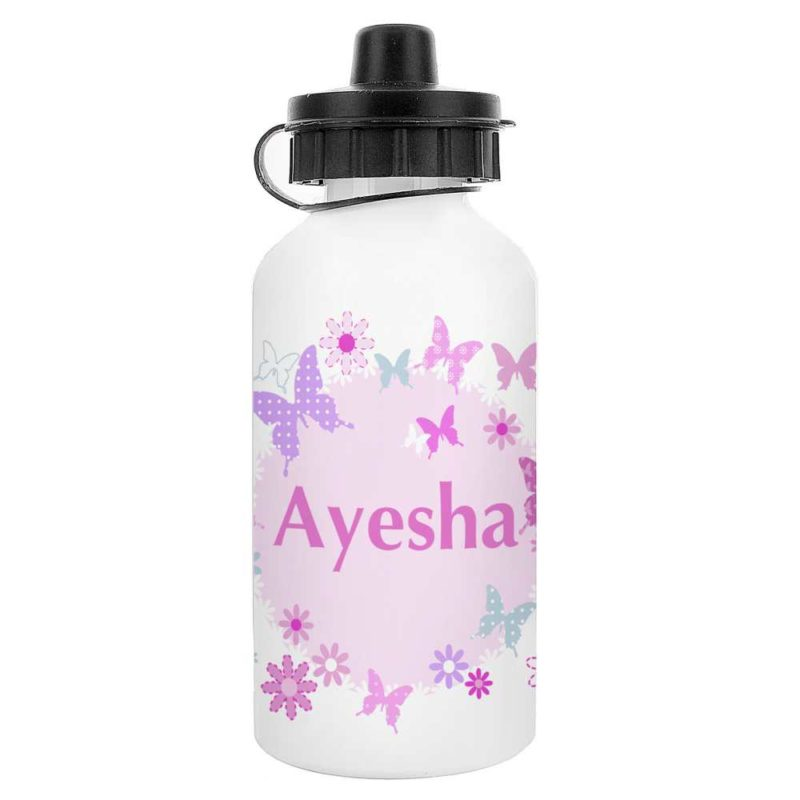 Personalised Butterflies and Flowers Drinks Bottle