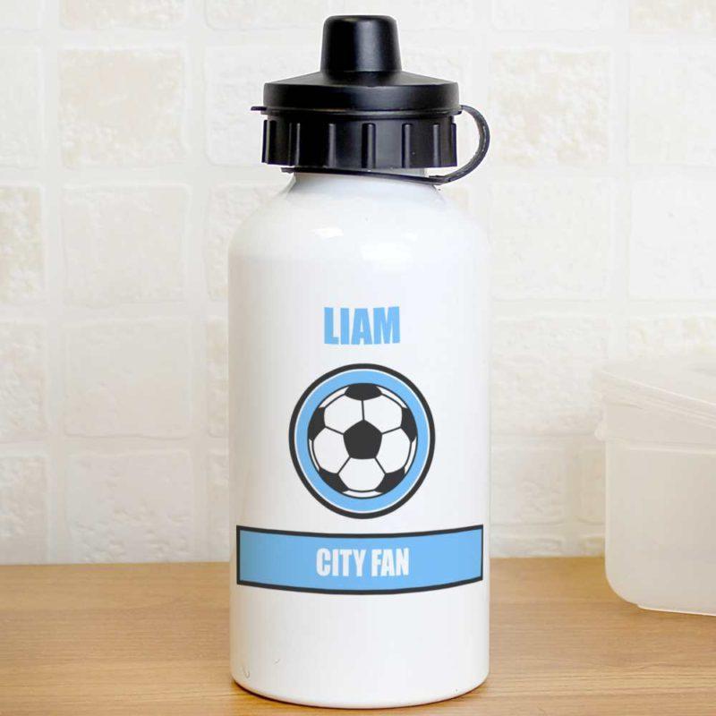 Personalised Sky Blue Football Fan Drinks Bottle