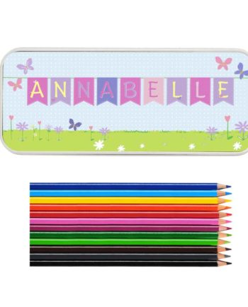 Personalised Bunting Pencil Tin with Colouring Pencils