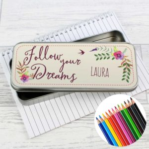 Personalised 'Follow your Dreams' Pencil Tin and Colouring Pencils