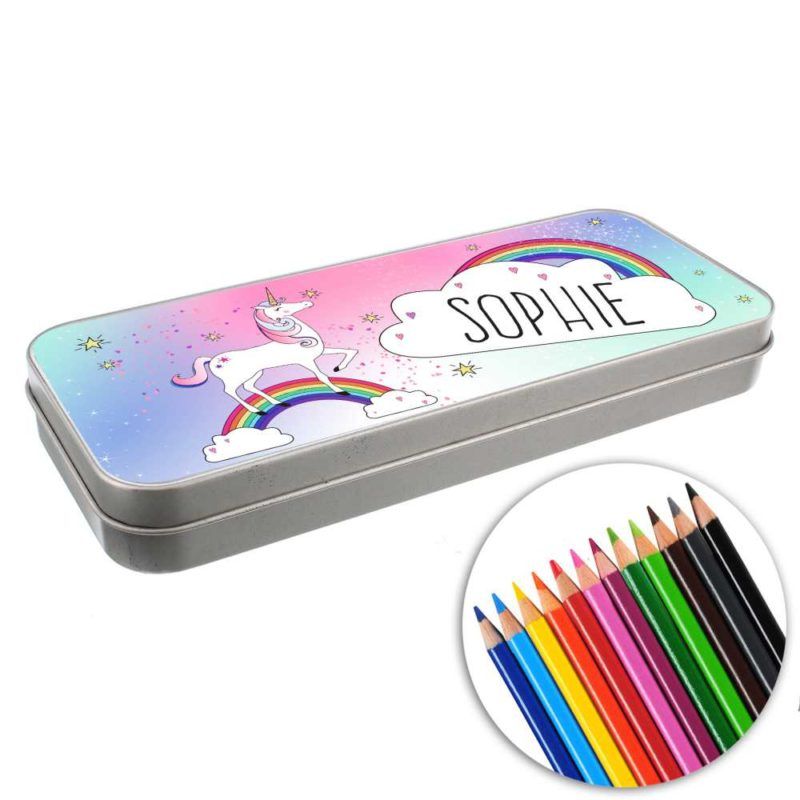 Personalised Unicorn and Rainbow Pencil Tin with Colouring Pencils