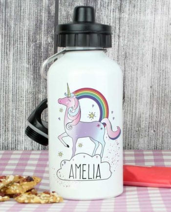 Personalised Unicorn and Rainbow Drinks Bottle