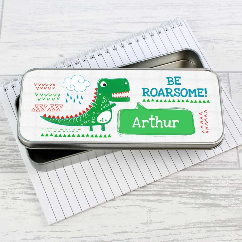 Personalised 'Be Roarsome' Dinosaur Pencil Tin with Colouring Pencils